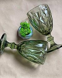 Келих з зеленого кольорового скла Ізольда 300 мл