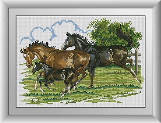30959 Сім'я (коні) Набір алмазної живопису, фото 2