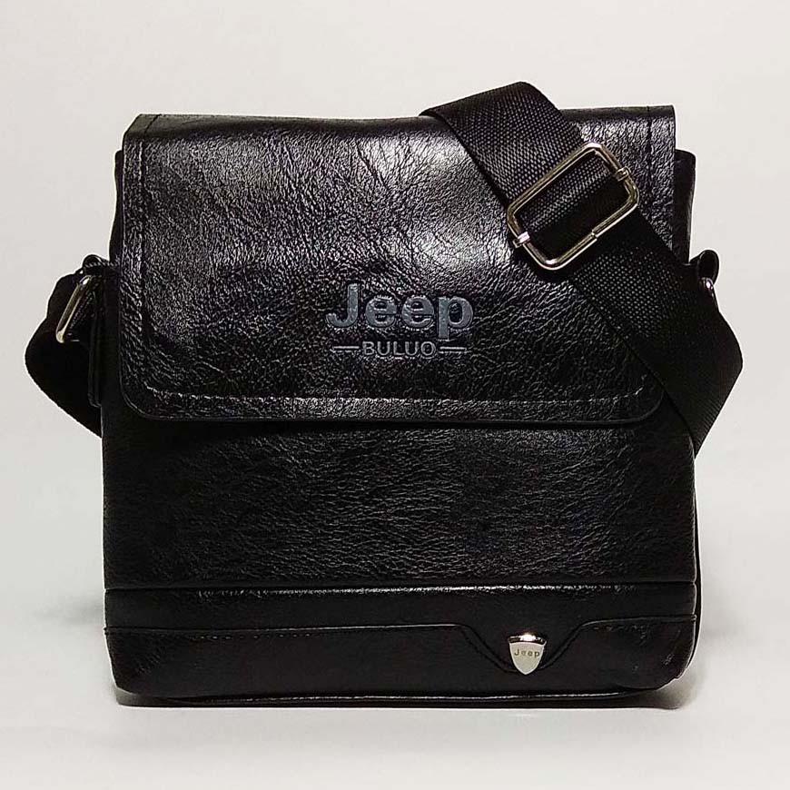 Чоловіча сумка через плече Jeep. Чорна. 21см х 19см / Шкіра PU. 552 black