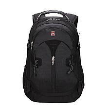 Місткий рюкзак SwissGear Wenger, свисгир. Чорний. + Дощовик. / s7255 black