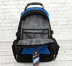 Місткий рюкзак. Чорний з синім. + Дощовик. 35L / s1531 blue, фото 8
