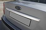 Накладка на кришку багажника (Sedan, нерж.) OmsaLine - Італійська нержавійка для Ford Focus II (2005-2008)
