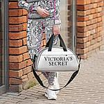 Спортивная фитнес-сумка Victoria's Secret для тренировок. Серебро. Кожзам, фото 2