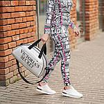 Спортивная фитнес-сумка Victoria's Secret для тренировок. Серебро. Кожзам, фото 4