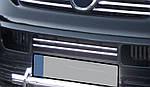 Накладки на решетку бампера (2 шт, нерж) Carmos - Турецкая сталь для Volkswagen T5 Transporter 2003-2010 гг.