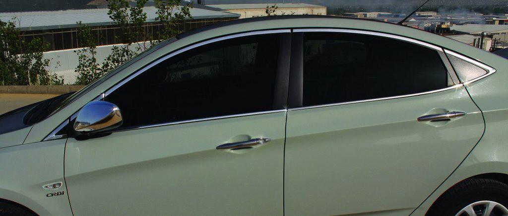 Полный комплект обводки стекол (14 шт, нерж.) для Hyundai Accent Solaris 2011-2017 гг.