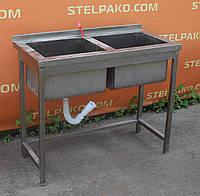 Моечная ванна 2-х секционная, из нержавеющей стали, 1000х600х850 мм., Б/у