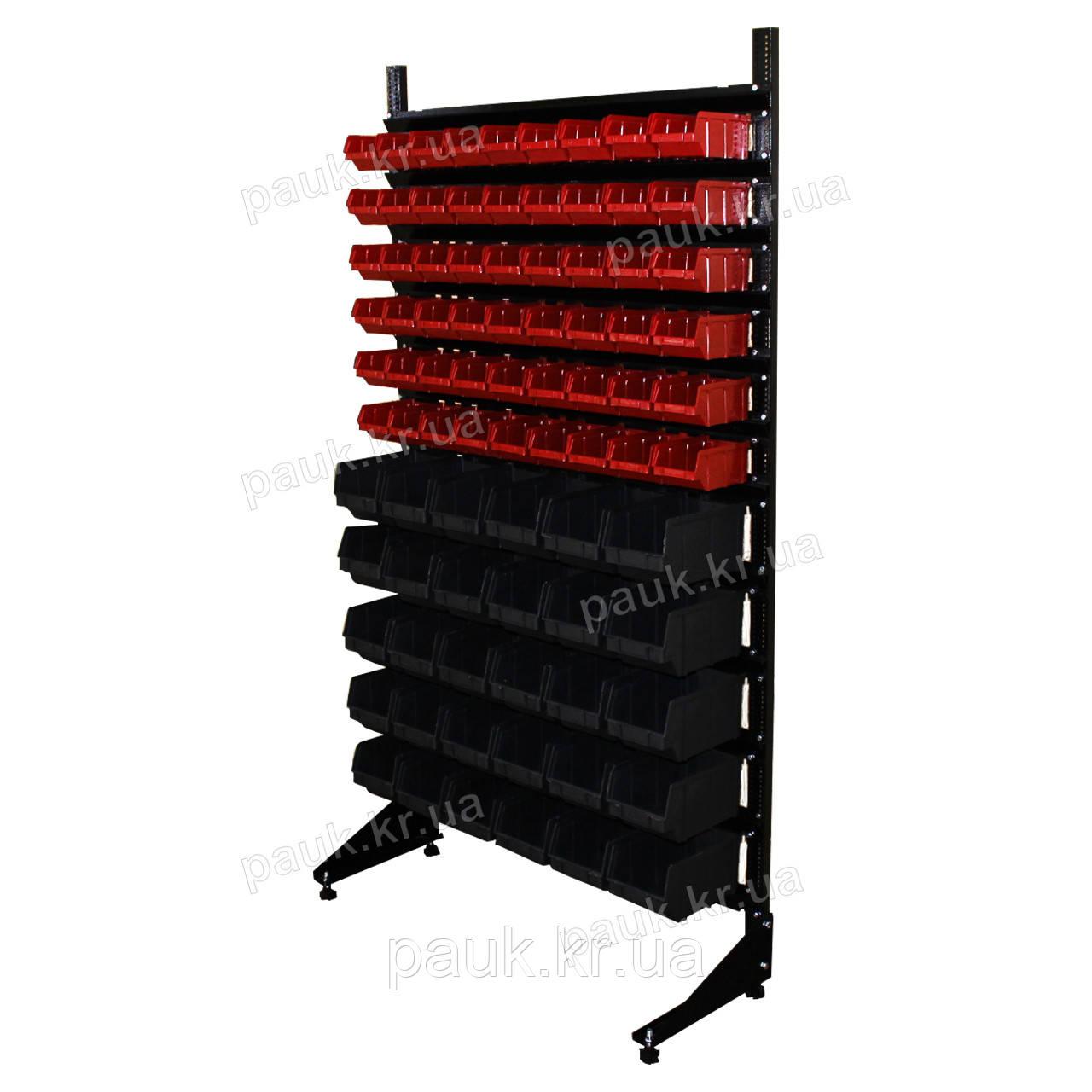 Стеллаж для инструментов и деталей 1800 мм 84 ящика односторонний, цветные ящики П/С