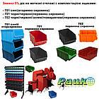 Стеллаж для инструментов и деталей 1800 мм 84 ящика односторонний, цветные ящики П/С, фото 5