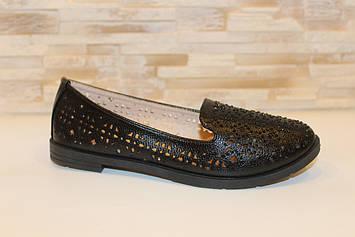 Балетки туфли женские черные Т1344