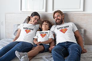 "Футболки. Family Look / Футболки для всей семьи ""Super Mom / Son / Daddy"""