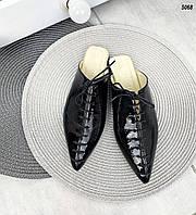 Женские кожаные лаковые  мюли на низком ходу 36-40 р чёрный, фото 1