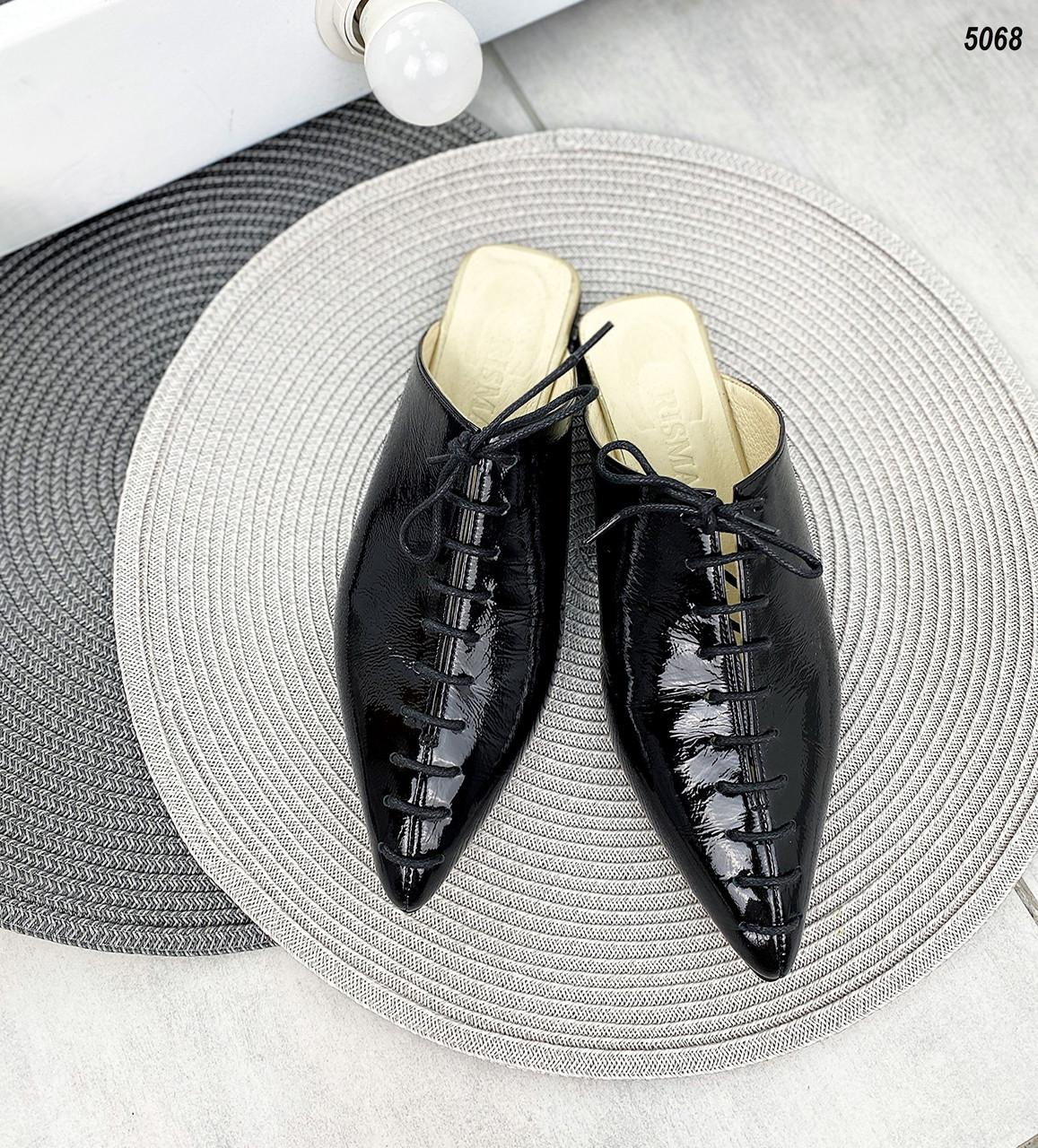 Женские кожаные лаковые  мюли на низком ходу 36-40 р чёрный