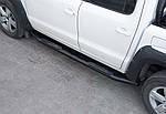 Боковые пороги Amazon Black (2 шт, черные) для Nissan Navara/NP300 2016↗