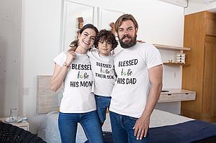 "Футболки. Family Look / Футболки для всей семьи ""Blessed Mom / daddy / Son"""