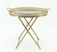 Кофейный столик-поднос из металла золотого цвета со стеклянной столешницей Гранд Презент 81149