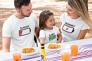 "Футболки. Family Look / Футболки для всей семьи ""Battery"""