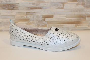 Балетки туфли женские белые Т1345
