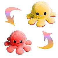 Мягкая игрушка осьминог перевертыш, красно-желтый двухсторонний грустный/весёлый