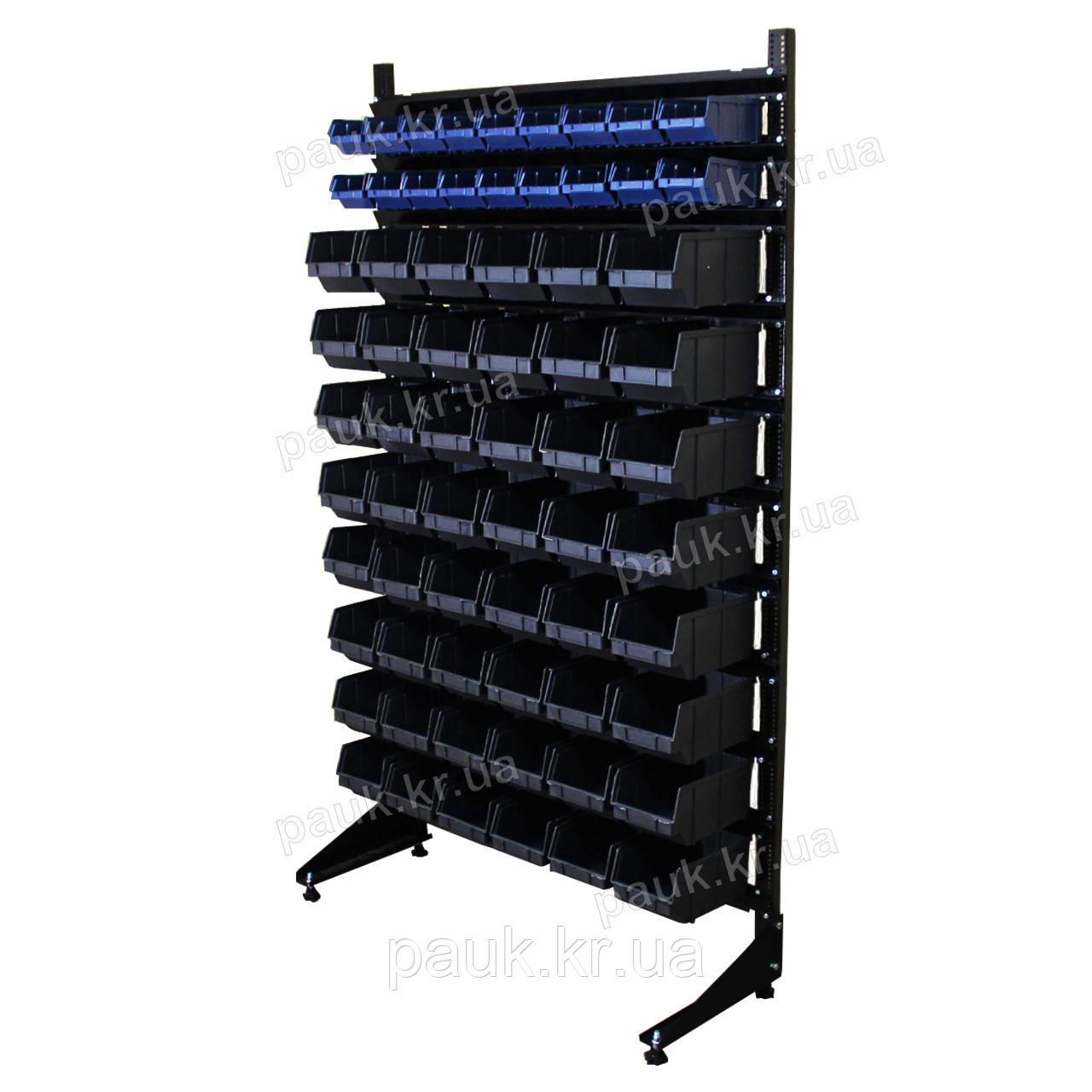 Торговий стелаж для дрібних деталей 1800 мм 66 ящиків, чорні ящики В / С
