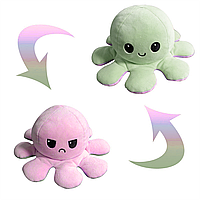 Мягкая игрушка осьминог перевертыш, розово-зеленый, двухсторонний грустный/весёлый