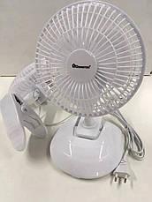 Настольный вентилятор с прищепкой Domotec MS-1623 (2 скорости, автоповорот) 15W, фото 2