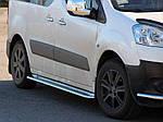 Бокові пороги Premium (2 шт., нерж.) d60 для Citroen Berlingo 2008-2018 рр ..