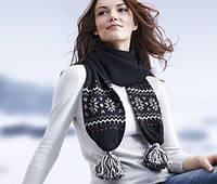 Оригинальный теплый шерстяной шарф с бубонами от тсм Tchibo размер универсальный