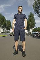 Комплект мужской льняной Шорты + Футболка поло Flax синий | Спортивный костюм мужской летний ТОП качества
