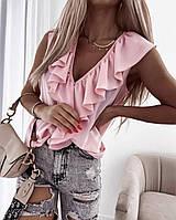 """Блузка жіноча полубатальная з воланом, розміри 50-56 (2цв) """"MILANI"""" купити недорого від прямого постачальника"""