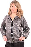 Куртка жакет женский на молнии  серый стальной большого размера