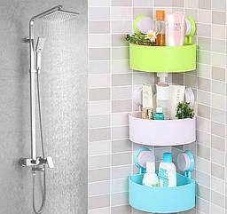 Полка на присосках угловая для ванной Triangle Shelves, разные цвета