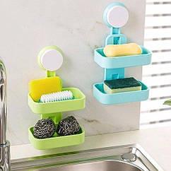 Мыльница на присоске Soap Box Double Layer, разные цвета