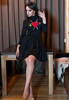 женское черное платье до средины бедра с вышивкой