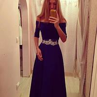Платье женское длинное вечернее с кружевом P232