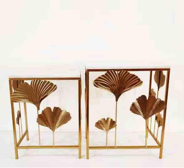 Пристенный столик из металла и мрамора Гинкго бронза набор 2шт Гранд Презент 70181