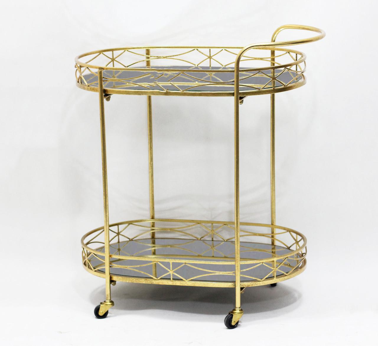 Сервировочный столик золотой на колесах из металла с черной стеклянной столешницей Гранд Презент 50158A