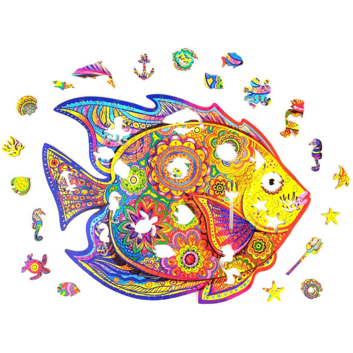 "Дерев'яні пазли з тваринами ""Fish wooden jigsaw puzzle"" А5, Рибка фігурні пазли з дерева для дітей (NS)"