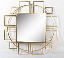 Настенное зеркало Арт деко Круг стекло и золотой металл Гранд Презент 25020