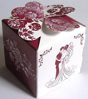 Бонбоньерки свадебные в бордовом цвете с глиттером