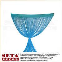 Голубая штора из нитей (кисея) 290 х 100 см