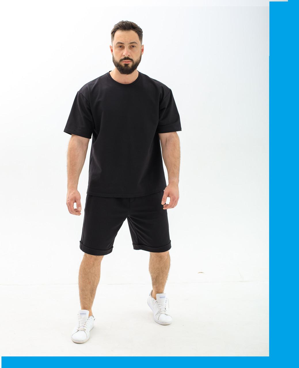 Летний мужской костюм футболка и шорты / Молодежный спортивный комплект Футболка+шорты