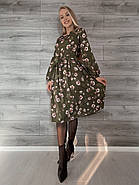 Элегантное платье длиною миди с длинным рукавом на манжете, фото 2