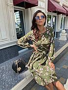 Элегантное платье длиною миди с длинным рукавом на манжете, фото 5