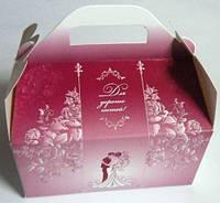 Коробки для свадебного каравая, бордовая с блестками