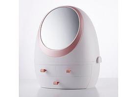Органайзер для косметики с зеркалом  косметический бокс Белый Розовый