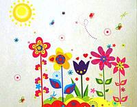 Наклейка виниловая Цветы разноцветные 3D декор