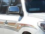 Накладки на зеркала 2008-2012 (2 шт, нерж) OmsaLine - Итальянская нержавейка для Toyota Land Cruiser 200