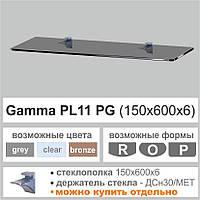 Стеклянная полка Сommus PL11 P (150x600x6мм) (прямоугольная прозрачная, бронза, графит), фото 1