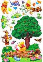 Наклейка виниловая Винни Пух и друзья возле дерева 3D декор